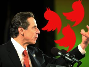 A visual approximation of what attack tweets from Andrew Cuomo could look like. (Photo composite: Spencer Platt/Getty)