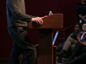 Alain de Botton speaks at the Brooklyn Academy of Music. (Photo by Beowulf Sheehan)