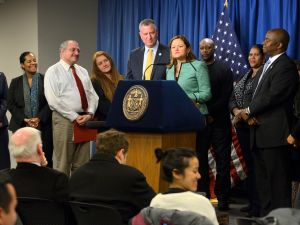 Mayor Bill de Blasio this afternoon. (Photo: Rob Bennett for the Office of Mayor Bill de Blasio)