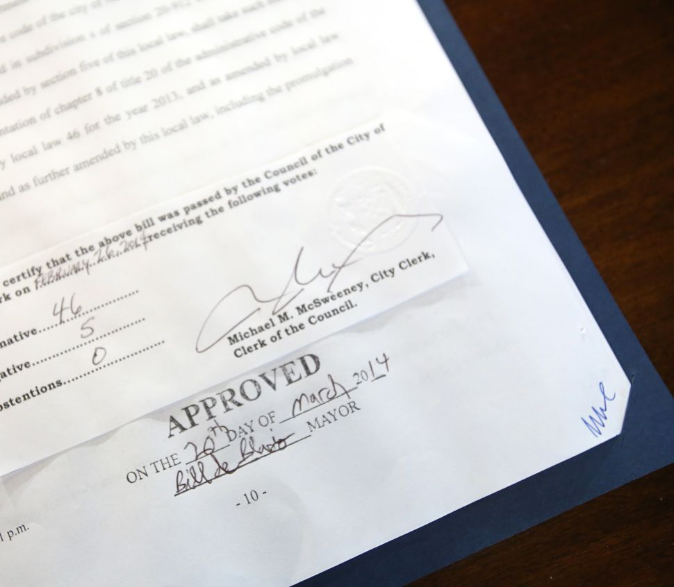 Bill de Blasio Signs His First Bill at Brooklyn Ice Cream Factory