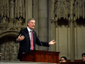 Bill de Blasio giving an education speech in a Manhattan church Sunday. (Photo: Rob Bennett/NYC Mayor's Office)