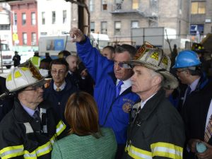 Bill de Blasio at the scene. (Photo: Rob Bennett/NYC Mayor's Office)