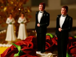 Same-sex wedding cake topper figurines. ((Photo via Getty Images)