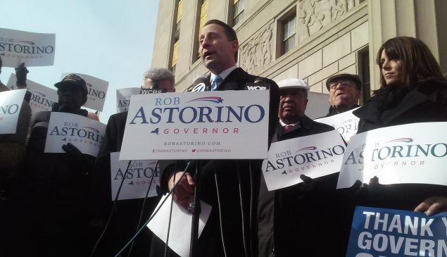 """Rob Astorino launches his campaign next to a """"Thank You Governor Cuomo"""" sign. (Observer File Photo)"""