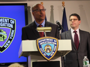 NYPD IG Philip Eure and DOI Commissioner Mark Peters at a previous press conference.
