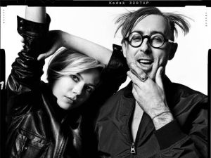 Michelle Williams hams it up with Alan Cumming wearing Vint and York. (Photo by Norma Jean Roy)