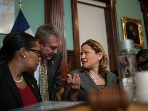 Council Speaker Melissa Mark-Viverito with two members of the Progressive Caucus.