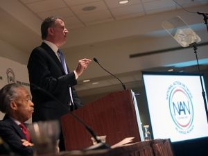 Mayor Bill de Blasio speaking at the NAN convention today. (Photo: Ed Reed for the Office of Mayor Bill de Blasio)