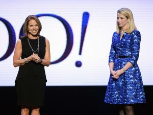 Katie Couric (left) and Yahoo! President and CEO Marissa Mayer. (Getty Images)