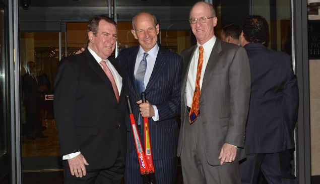 Andrew, Jonathan and James Tisch at the reopening of the newly renovated Loews Regency Hotel earlier this year. (Getty Images</em