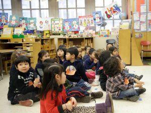 Pre-school kids after a visit from Bill de Blasio in 2014