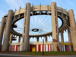 The New York State Pavilion was declared a national treasure yesterday, but it still needs some work before it can be the celebratory tent it once was during the 1964 World's Fair. (Flickr)
