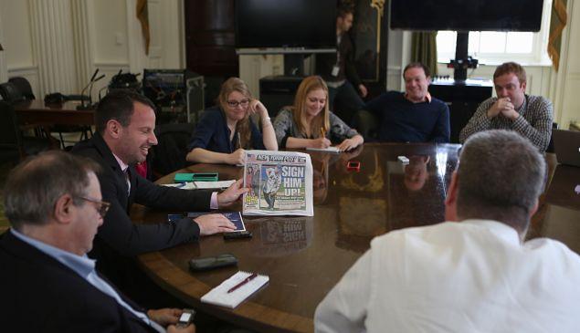 Mayor Bill de Blasio admiring the New York Post earlier today. (Photo: Rob Bennett/NYC Mayor's Office)