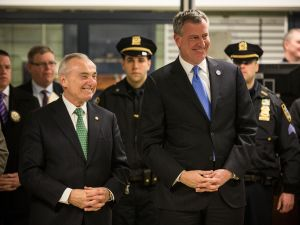 Mayor Bill de Blasio and Commissioner Bill Bratton (Photo: Andrew Burton for Getty Images).