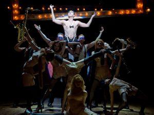 Alan Cumming, top, in <em>Cabaret</em>. (<em>Photo by Joan Marcus</em>)