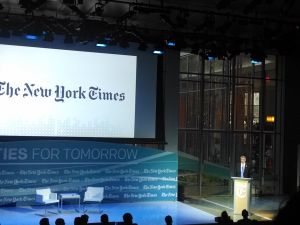 Bill de Blasio at the opening reception of the The New York Times Cities for Tomorrow conference 2014.