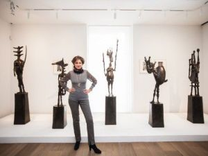 Dominique Lévy with sculptures by Germaine Richier.