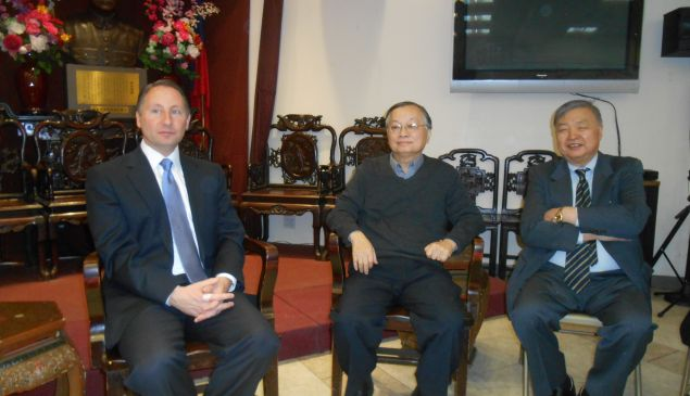 Rob Astorino (left) at the Ling Sing Association with Eddie Chiu (center).