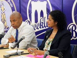 Borough President Eric Adams speaking with reporters yesterday. (Photo: Brooklyn Borough President's Office)