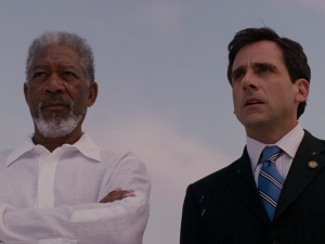 Morgan Freeman, left, and Steve Carrell in <em>Evan Almighty</em>.