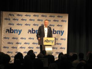 Bill de Blasio this morning during a surprise appearance at ABNY.