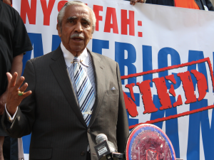 Congressman Charlie Rangel speaks at a rally on Friday