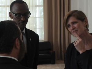 The author meets with Rwandan President Paul Kagame and Samantha Power, United States Ambassador to the United Nations, in Rwanda today to commemorate the 20th anniversary of the Rwandan genocide. (<em>Photo courtesy of Rabbi Shmuley Boteach</em>)