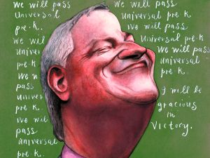 Illustration of Mayor de Blasio by Steve Brodner