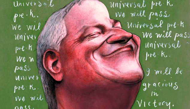 Illustration of Mayor de Blasio by Steve Brodner