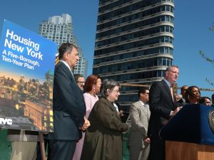 Mayor Bill de Blasio unveiling his housing plan. (Photo: Ed Reed for the Office of Mayor Bill de Blasio)