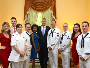 New York City Mayor Bill de Blasio at a Fleet Week reception at Gracie Mansion.