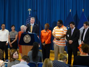 New York City Mayor Bill de Blasio at the Bronx Academy for Software Engineering. (Photo: NYC Mayor's Office)