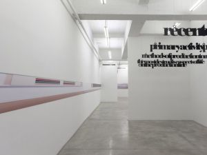 Casey Kaplan gallery, with work by Louise Lawler and Liam Gillick, 2013. (Courtesy Casey Kaplan)