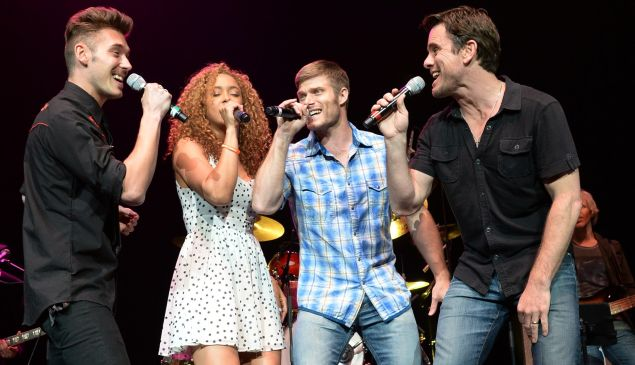 Sam Palladio, Chaley Rose, Chris Carmack and Charles Esten of Nashville in live performance. (Getty Images)