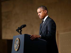President Obama addresses the crowd (Mike Segar/REUTERS)