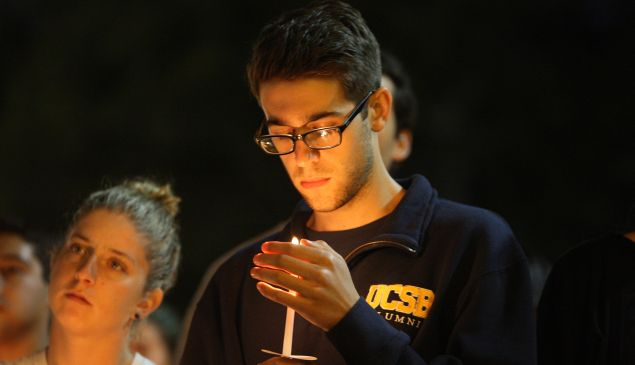 A UCSB student mourns the victims of yet another school rampage. (Getty Images)