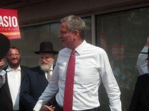 Mayor Bill de Blasio in the heavily Jewish Boro Park neighborhood last year.