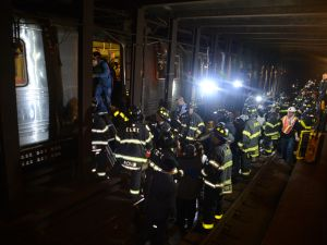 Scene at derailment of F train south of the 65 St. station in Woodside, Queens on Friday. (Photo: Marc Hermann/MTA)