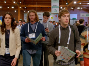 The Pied Piper team arrives at TechCrunch Disrupt. (Screengrab via HBO)