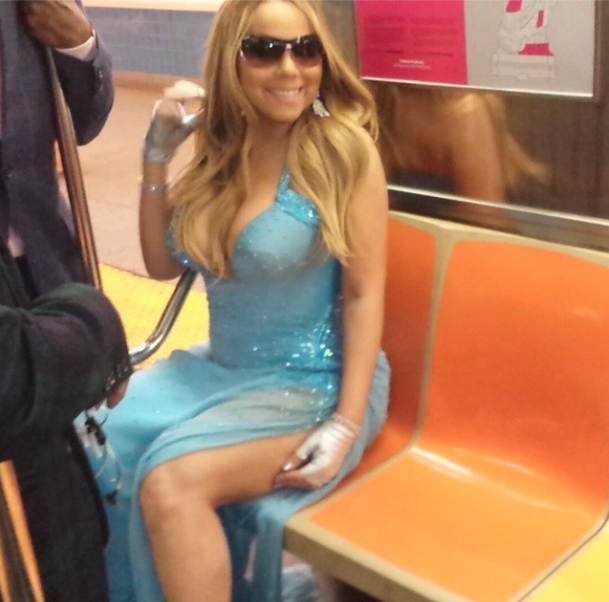 Mariah Carey Rode the Subway in Couture