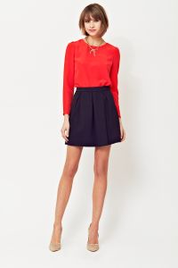 Red satin blouse, box pleat skirt, A/W 2014