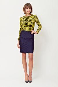 Pencil skirt, chequered print blouse, A/W 2014