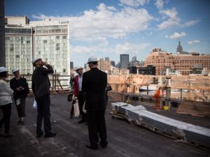 On one of the Whitney's terraces., mid-construction, summer 2014. (Photo by Andrew Burton/Getty Images)