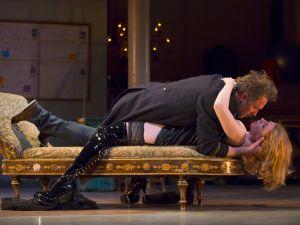 "Chris Kipiniak and Andrea Syglowski in the Huntington Theatre Company's production of David Ives' ""Venus in Fur."" Photo T. Charles Erickson"