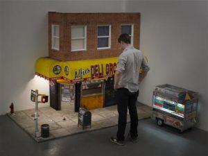 Drew Hamilton's quarter-scaled model of his view from his apartment. (Courtesy of Drew Hamilton)