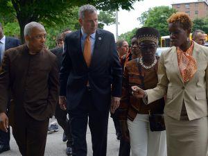 Mayor Bill de Blasio in East New York, Brooklyn today. (Photo: NYC Mayor's Office)