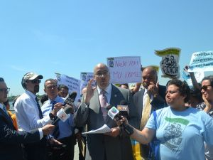 The immigration press conference in Battery Park City today. (Photo: Center for Popular Democratic/Flickr)