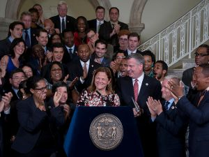Council Speaker Melissa Mark-Viverito and Mayor Bill de Blasio agreeing to a new budget last week. (Photo: William Alatriste/NYC Council)