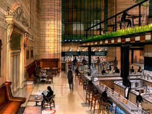 A rendering of the food-hall to come (Courtesy of BHDM Design)