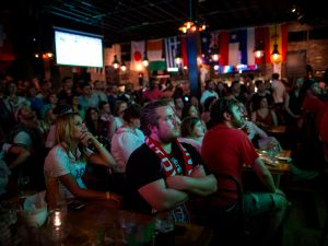 Fans watch the U.S. play against Portugal in Brooklyn. (Photo via Getty Images)